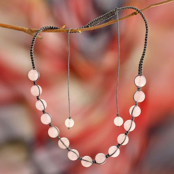 Handcrafted 'Oneness' Rose Quartz Shamballa Necklace (India)