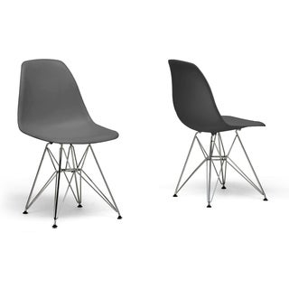 Baxton Studio Ronnie Grey Chair with Wire Base (Set of 2)