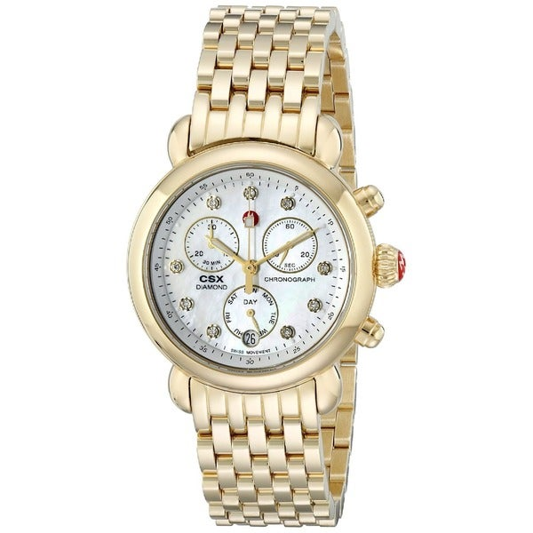 Michele Women's MWW03M000201 'CSX-36' Chronograph Diamond Gold-tone Stainless Steel Watch