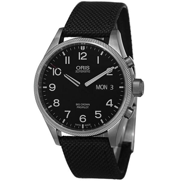 Oris Men's 752 7698 4164 LS 'Big Crown' Black Dial Black Fabric Automatic Pro Pilot Watch