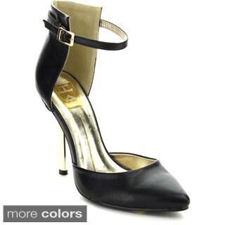 Fahrenheit Women's 'Brenda-02' Ankle Strap Pointy Toe Pumps