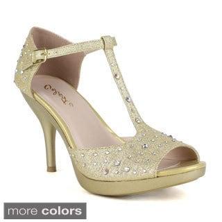 Celeste Women's 'Lynn-01' Rhinestone T-strap Dress Heels