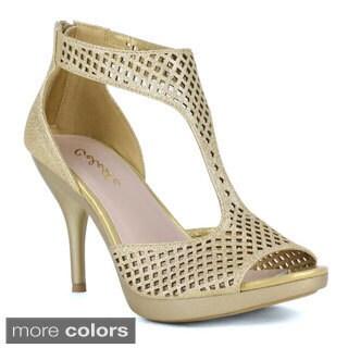 Celeste Women's 'Lynn-02' Glittery Cut-out T-strap Heels