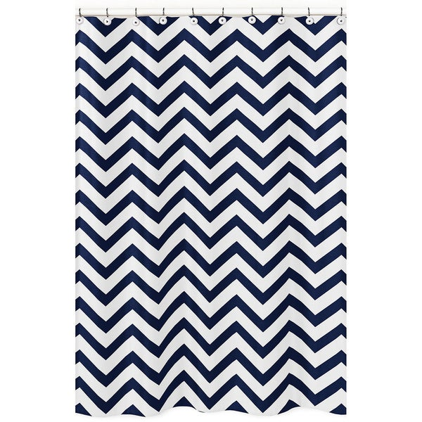 Sweet Jojo Designs Navy/ White Chevron Shower Curtain (As Is Item)