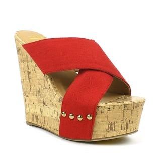 Mark and Maddux Women's 'Jennifer-01' Red Criss-cross Cork Wedges
