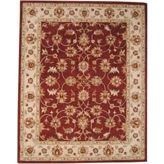 Herat Oriental Indo Hand-tufted Isfahan Burgundy/ Ivory Wool Rug (8' x 10')