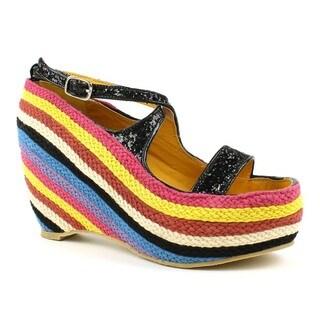 Fahrenheit Women's Fig-01-Z Peep-toe Colorful Cross-strap Knit Wedges