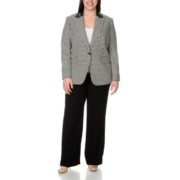 Tahari Arthur S. Levine Women's Plus Size Houndstooth Pant Suit