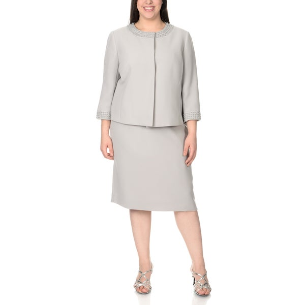 Tahari Arthur S. Levine Women's Plus Size Faux Pearl Accent Skirt Suit