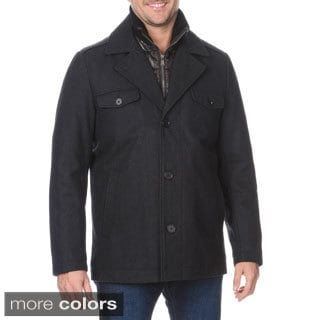 Halifax Men's Wool-blend Coat with Knit Collar