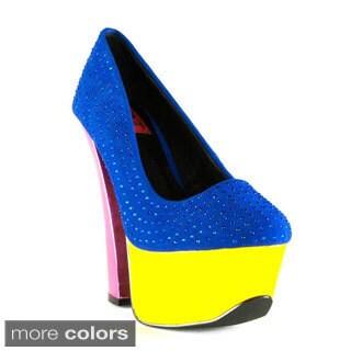 Terrari Women's Firenze-02 Colorblock Chunky Heels