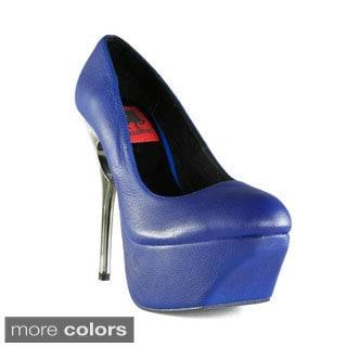 Terrari Women's Sicily-01 Leather Cutout Heel Pumps