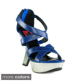 Terrari Women's 'Roma-05' Embossed Leather Cutout Wedge Heel
