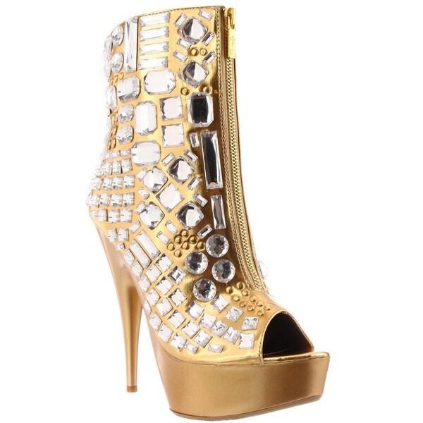 Celeste Women's Succi-01 Jewel Embellishment Peep-toe Ankle Bootie (As Is Item)