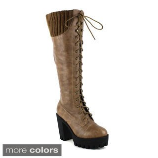 Fahrenheit Women's Sam-01 Knee-High Lace-Up Combat Boots