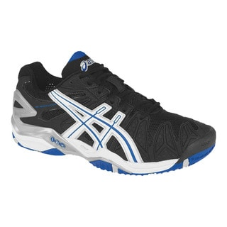 Asics Men's 'Gel Resolution 5' Black and Blue Tennis Shoes