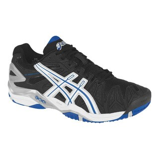 Asics Men's 'Gel Resolution 5' Black and Blue Tennis Shoes