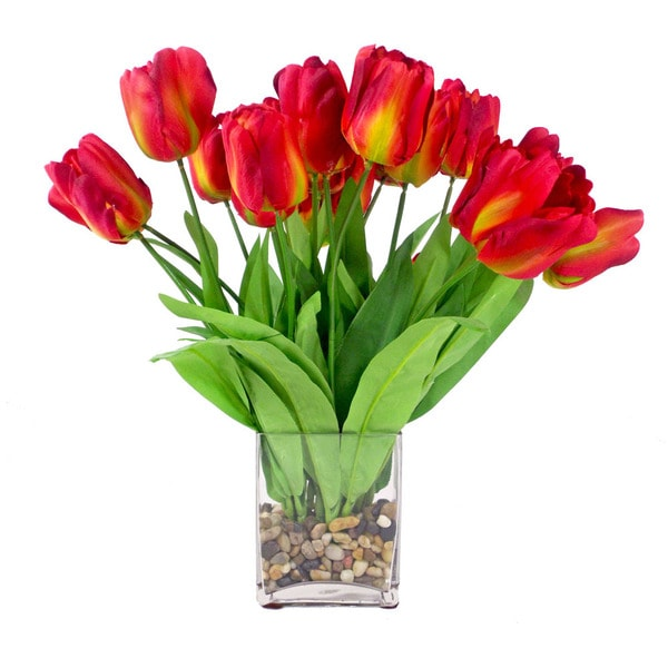 Red Tulip Bouquet in River Rock Filled Glass Cube