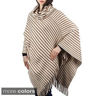 Candy Stripe Cozy Knitted Turtleneck Cape Poncho