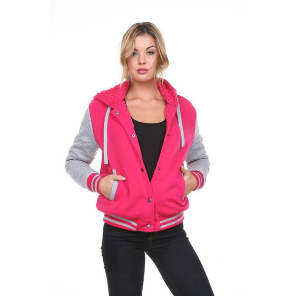 Stanzino Women's Fleece Lined Hooded Varsity Jacket