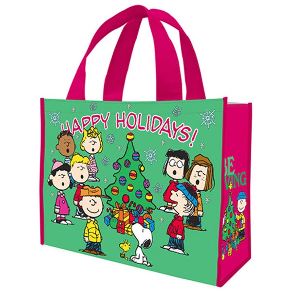 Peanuts Happy Holidays Large Recycled Shopper Tote Bag