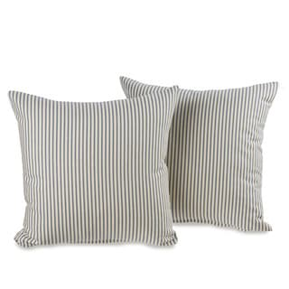 Ticking Stripe Blue Decorative 20-inch Throw Pillows (Set of 2)