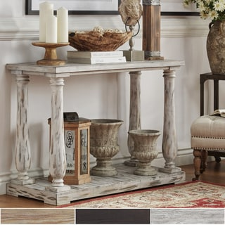 SIGNAL HILLS Edmaire Rustic Baluster Weathered Pine TV Stand