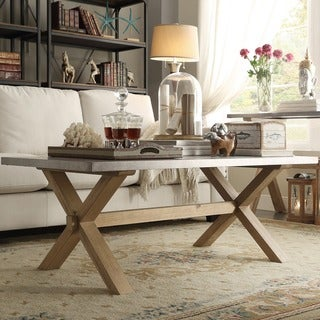 INSPIRE Q Aberdeen Industrial Zinc Top Weathered Oak Trestle Coffee Table