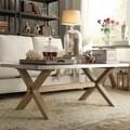 INSPIRE Q Aberdeen Industrial Zinc Top Weathered Oak Trestle Coffee Table