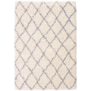 Beni Ourain Inspired Shaggy Moroccan Trellis Shag Area Rug (3'3 x 4'7)