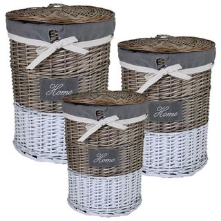 3-piece Round Willow Hamper Set