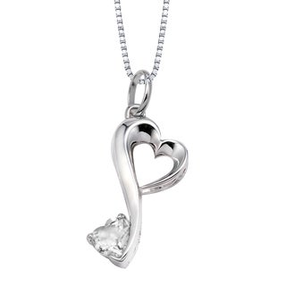 Love Grows Sterling Silver Cubic Zirconia Double Heart Necklace