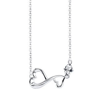 Love Grows Sterling Silver Cubic Zirconia Sideways Double Heart Necklace