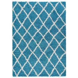 Beni Ourain Inspired Contemporary Moroccan Trellis Design Shaggy Area Rug (5' x 7')