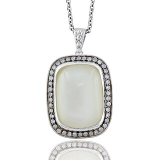 Sterling Silver Cushion-cut Moonstone 3/8ct TDW Diamond Necklace (H-I, I1-I2)