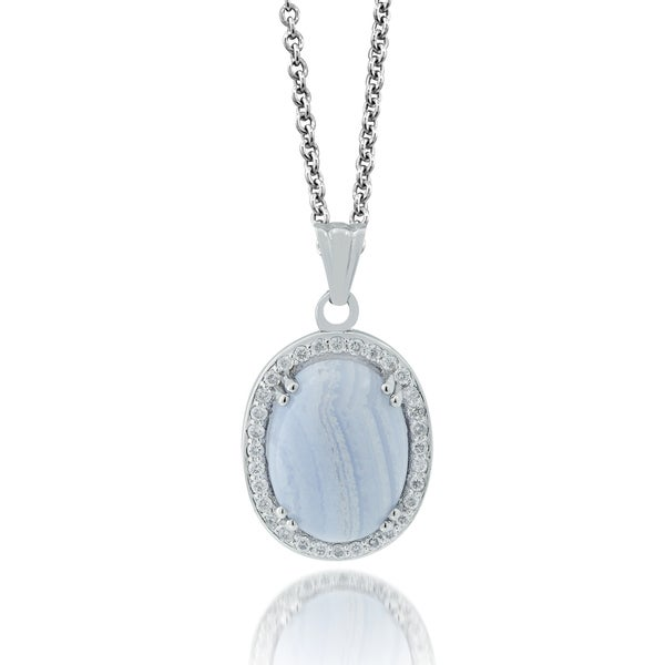 Platinum over Silver Blue Lace Agate 3/8ct TDW Diamond Necklace (H-I, I1-I2)