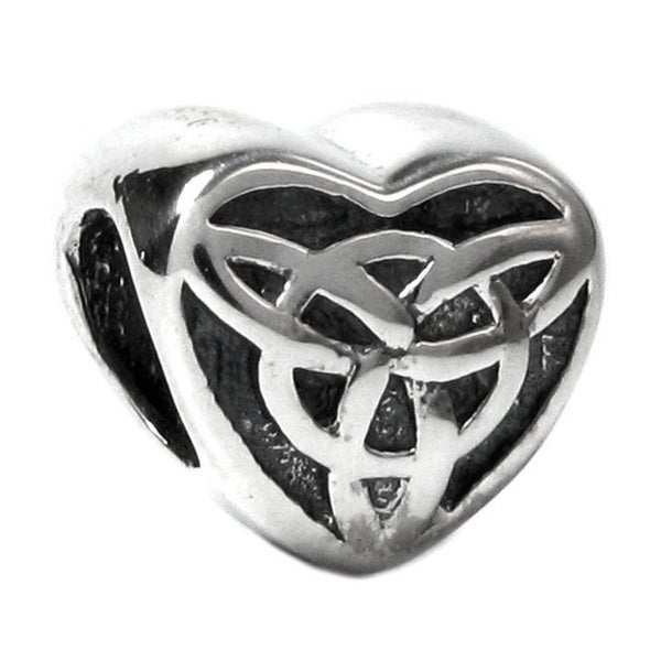 Queenberry Sterling Silver Celtic Love Knot Triquetra Heart Valentine European Bead Charm