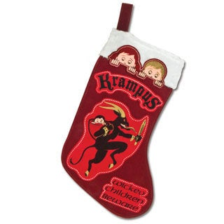 Krampus Red Christmas Stocking