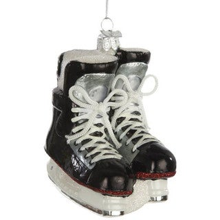 Ice Hockey Skates Glass Christmas Tree Ornament