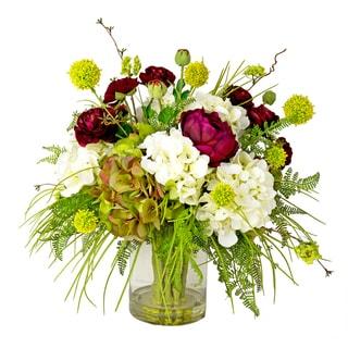 Magenta Peony, Green Allium, Mixed Hydrangea and Fern