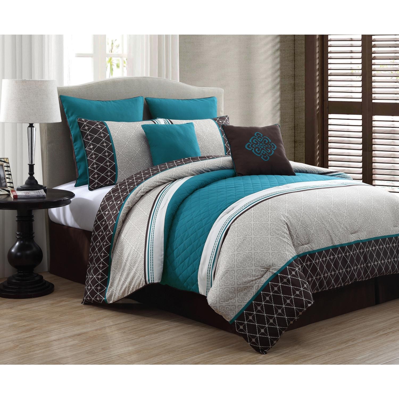 luxurious queen size bed 8 piece comforter set bedroom bedding