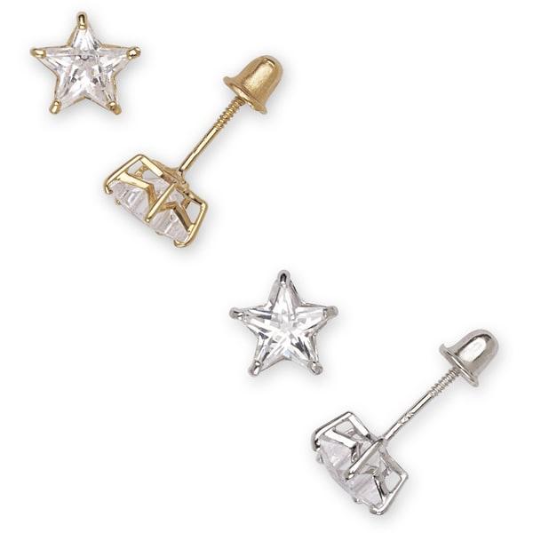 14k Gold Cubic Zirconia Star Stud Earrings