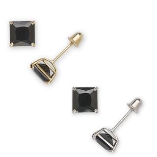 14k Gold Princess-cut Black Cubic Zirconia Stud Earrings