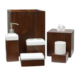 Lamont home tahoe wooden bath accessory collection for Best bathroom accessory sets