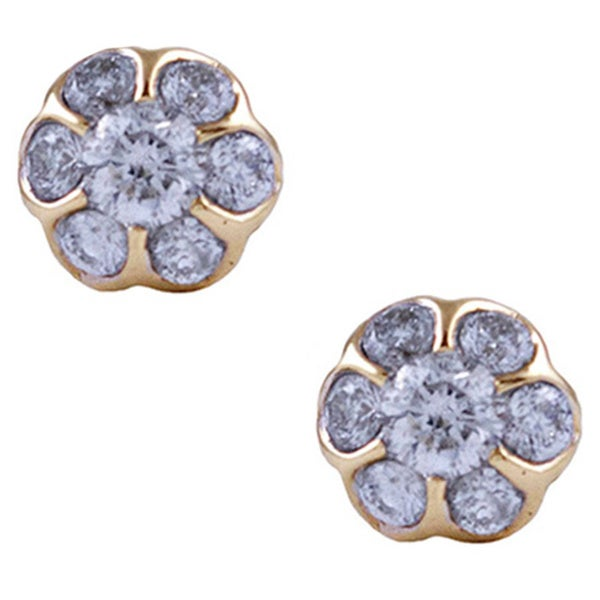14k Yellow Gold 1/3ct TDW Diamond Post Earrings (G-H, SI1-SI2)
