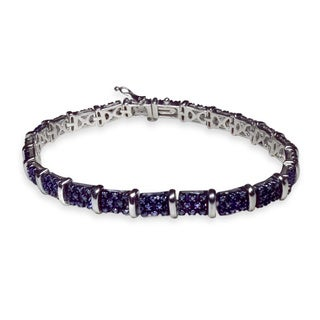 Sterling Silver 1ct TDW Blue Diamond Link Bracelet (I2-I3)