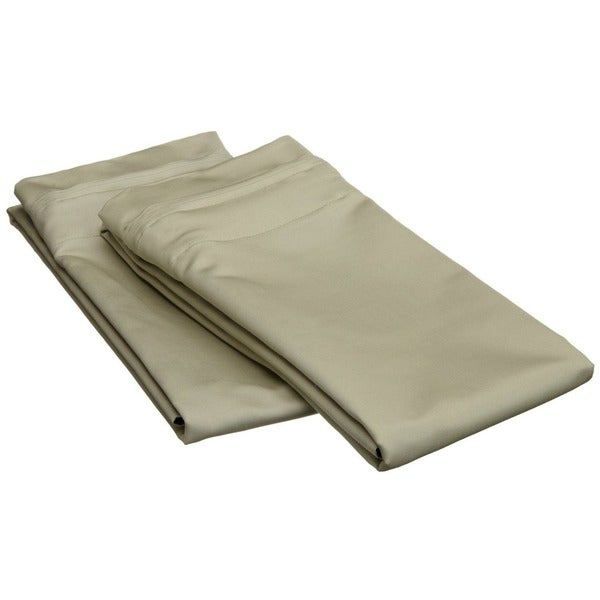 100-percent Egyptian Luxurious Cotton 1500 Thread Count Solid Sage Pillowcase Set (As Is Item)
