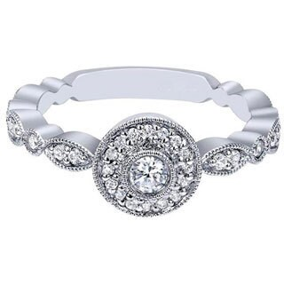 14K White Gold 1/3ctw Diamond Halo Promise Ring