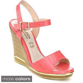 Kayleen Women's 'Evina-3' Ankle Strap Platform Wedges