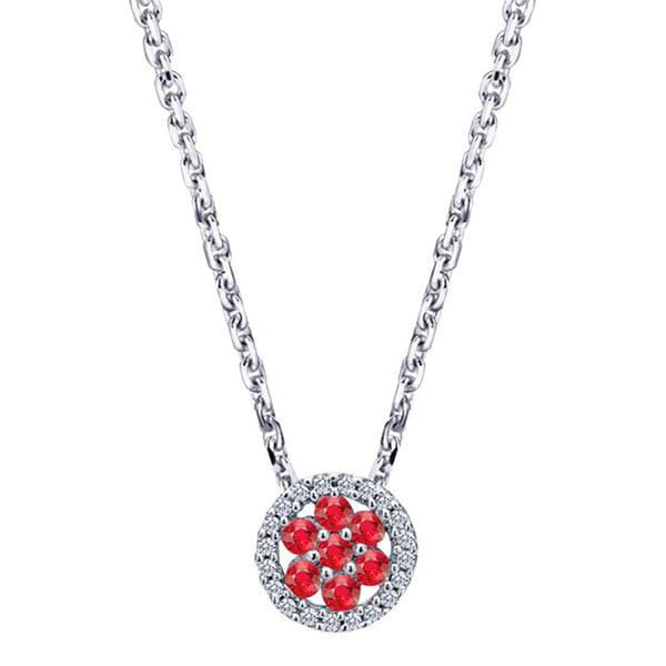 14k White Gold Ruby .08ct TDW Diamond Necklace